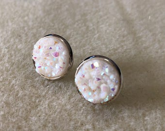 12mm druzy earrings in silver settings settings
