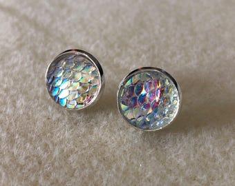 12 mm fish/mermaid scale earrings with silver settings