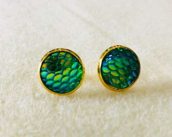 12 mm fish/mermaid scale earrings with gold settings
