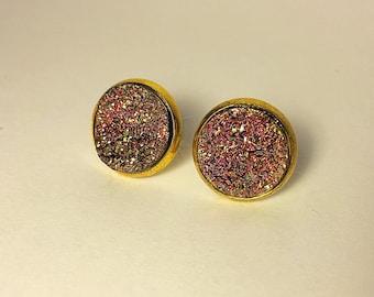 12mm druzy earrings