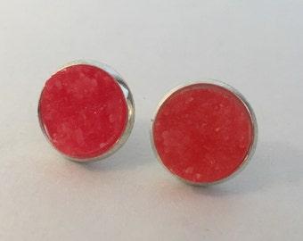 12mm dark coral druzy earrings