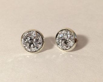 10mm silver druzy earrings in silver setting