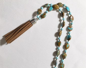 Turquoise tassel necklace with leather tassel