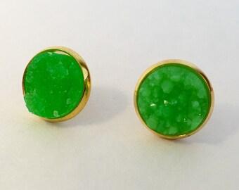 12mm lime green druzy earrings in gold settings