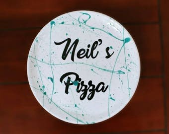 Personalised Ceramic Pizza Plate Custom Colours Personalized Name & Pizza plate | Etsy