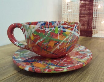 Ceramic Cappuccino Hand Painted Cappuccino Mug & Saucer Splatter Set Red/Multi Coffee Lover Coffee Cup