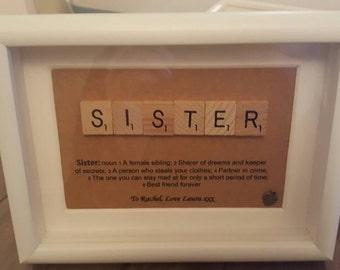 Sister Definition Scrabble Art Frame