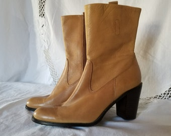 3f044efd5f40c Vintage Enzo Angiolino Leather Chelsea Style Boots Camel Color Flexo Sole  Zipper 7 1 2M