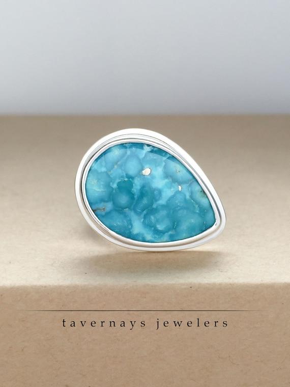 Whitewater Turquoise Statement Ring, Gemstone Ring Turquoise Ring Natural Turquoise Ring