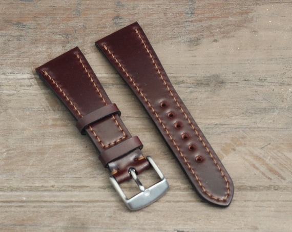 Color #8 Horween Shell Cordovan watch strap - full stitching