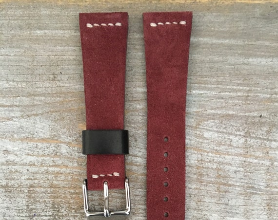 VTG style Custom Sude watch band - Bordeaux