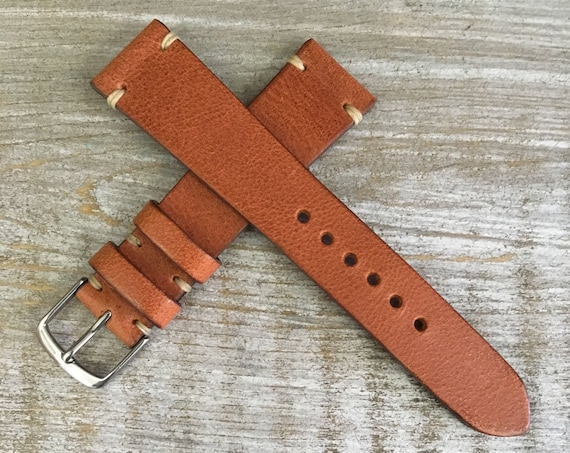 Antique Tan Italian Calf leather watch band - Simple stitch