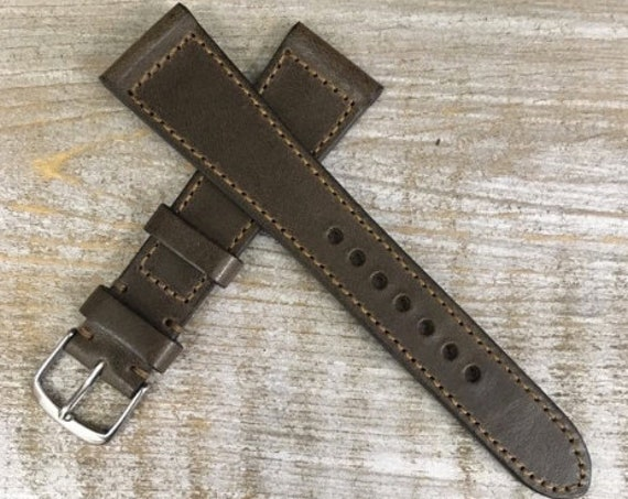 Italian Calf / full stitching watch band - Antique Olive