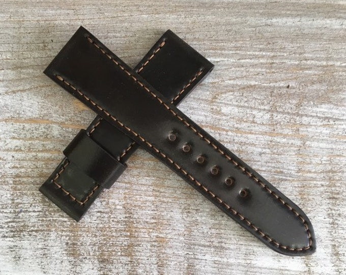 Horween Shell Cordovan watch band for folding / butterfly buckle