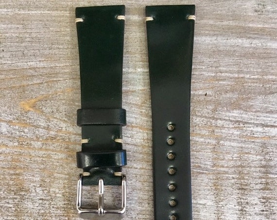 Dark Green Horween Shell Cordovan watch band