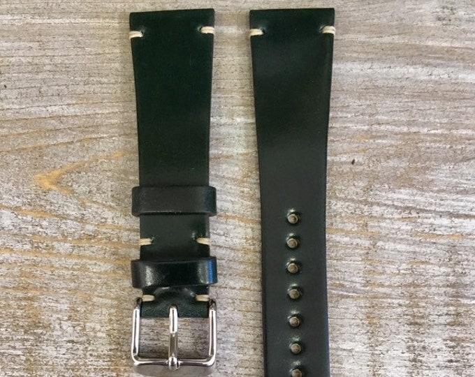 Dark Green Horween Shell Cordovan watch band