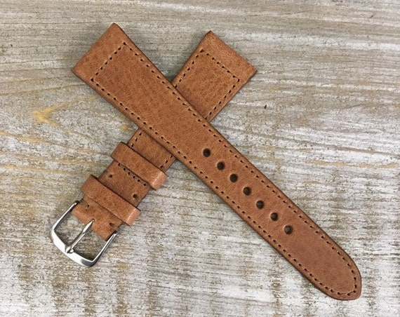 Italian Calf / full stitching watch band - Antique Tan