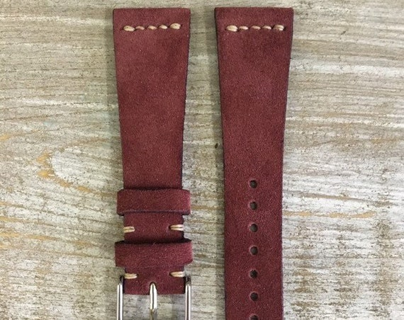 Custom Classic Suede watch band - Bordeaux