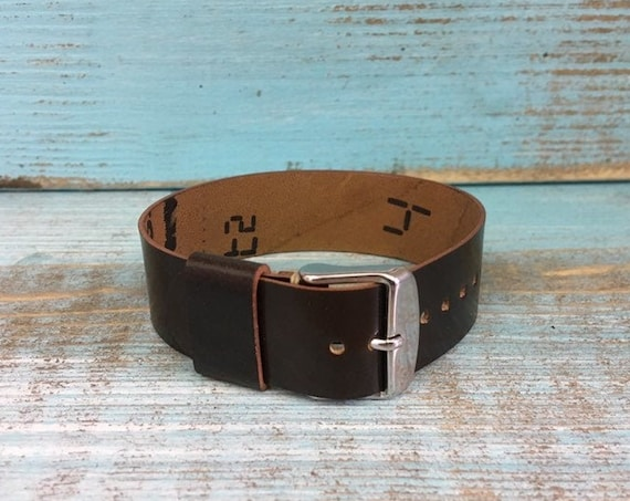 20mm dark brown Horween Shell Cordovan 1 piece strap