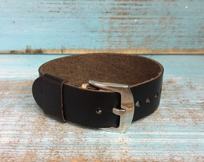 20mm Black Horween Chromexcel 1 piece strap