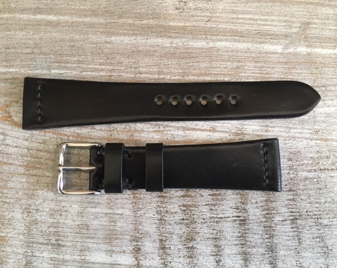 20/16mm Black Horween Shell Cordovan watch band