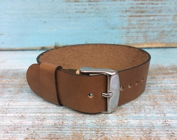 Custom Light Brown Italian Calf 1 piece strap