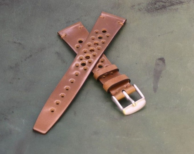Custom Horween Shell Cordovan Rally watch band with simple stitching