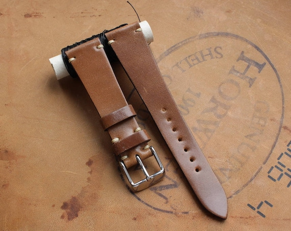Bourbon Horween Shell Cordovan watch band - simple stitching