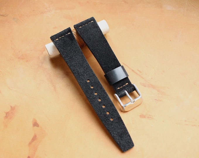 VTG style Custom Suede leather watch band with simple stitching - Black