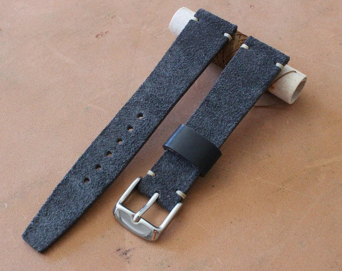 VTG style Custom Suede leather watch band with simple stitching - 7 colors