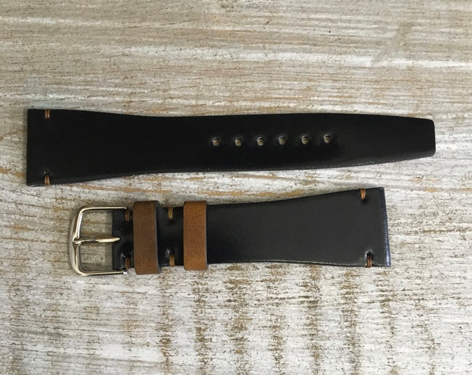 21/16mm VTG Style Black Horween Shell Cordovan watch band