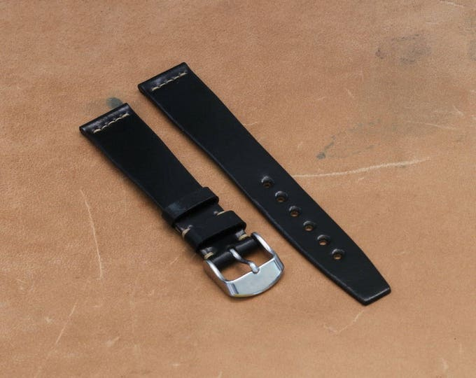 VTG style Black Horween Shell Cordovan watch band - simple stitching