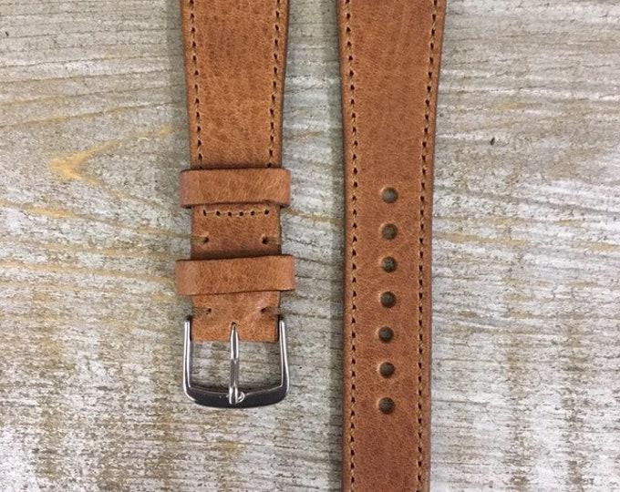 Italian Calf / full stitching watch band - Antique Tan