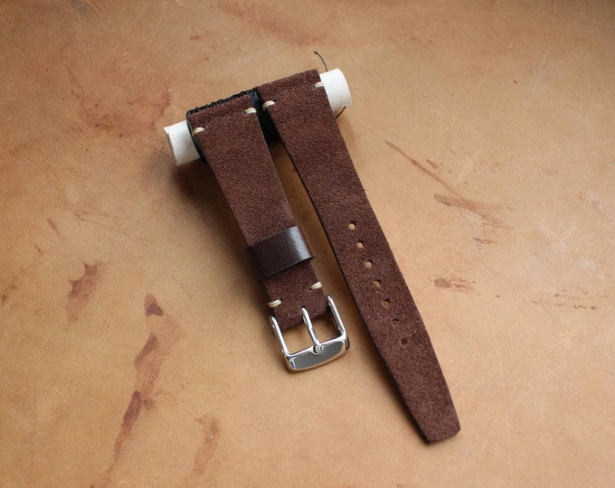 VTG style Custom Suede leather watch band with simple stitching - Brown
