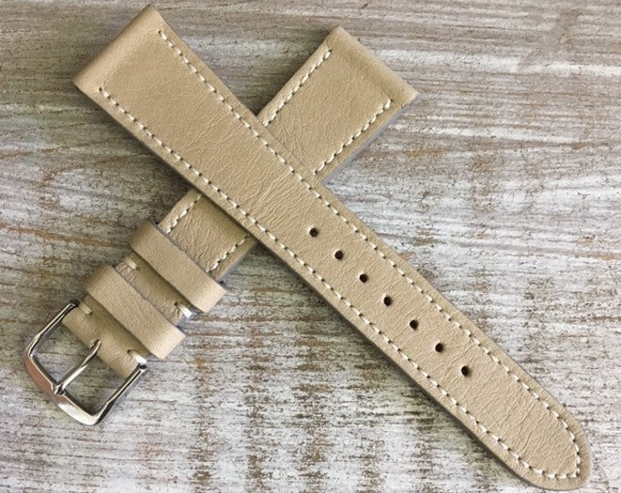 Classic Italian Leather watch strap - Taupe