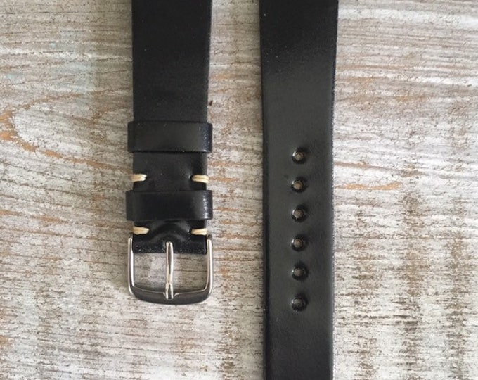19/16mm Black Horween Shell Cordovan watch band