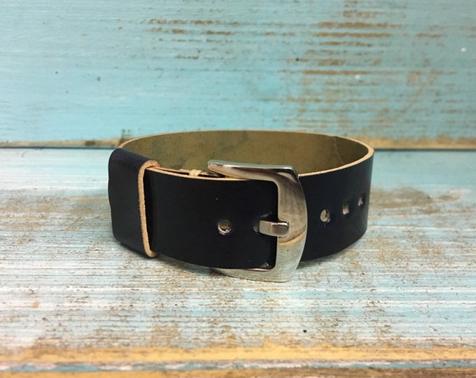 20mm Navy Blue Horween Shell Cordovan 1 piece strap