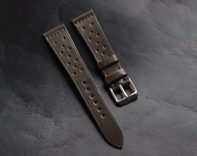 Dark Cognac Horween Shell Cordovan Rally watch band