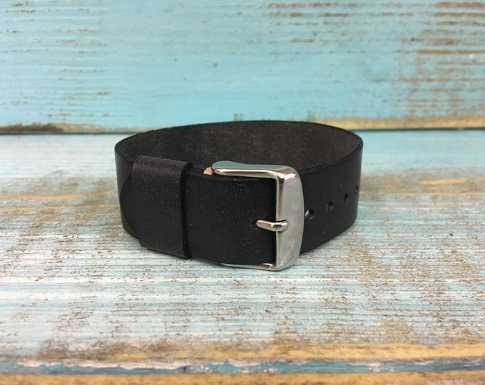 20mm Black Italian Calf 1 piece strap - xs