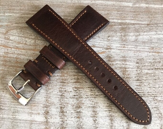 Italian Calf / full stitching / light padding watch band - Oak Brown