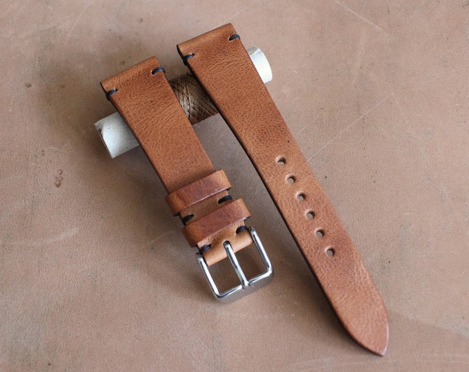 English Tan Horween Derby watch band with simple stitching
