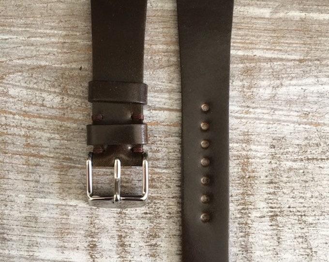 20/16mm Dark Brown Horween Shell Cordovan watch band
