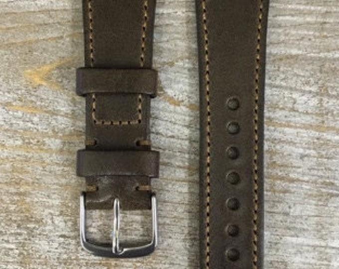 Italian Calf / full stitching watch band - Antique Olive