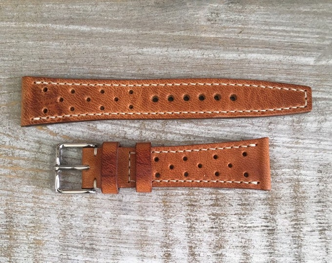 VTG style Rally in Natural Horween Dublin watch band with full stitching