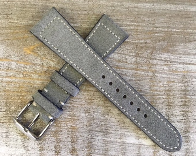 Classic Italian Suede watch strap - Light Grey