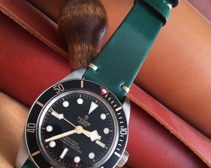 Green Tuscany Shell Cordovan watch band - simple stitching