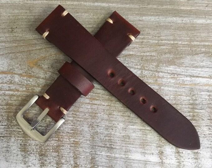 20/18mm Burgundy Horween Chromexcel watch strap/band