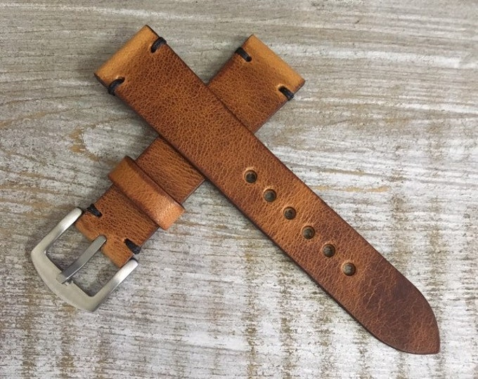 20/18mm English Tan Horween Derby watch strap/band