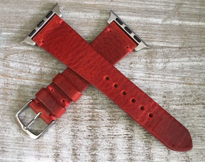 Italian Calf watch band for Apple watch - Cherry