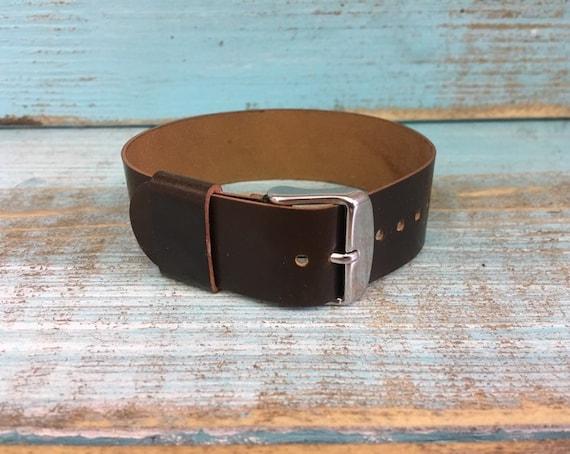 20mm dark brown Horween Shell Cordovan 1 piece strap